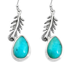 8.54cts natural peruvian amazonite silver dangle feather charm earrings p55493
