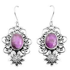 7.07cts natural phosphosiderite (hope stone) 925 silver flower earrings p58393