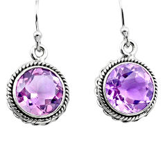 11.17cts natural pink amethyst 925 sterling silver dangle earrings p91313