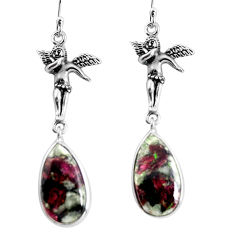 15.93cts natural pink eudialyte 925 silver angel wings fairy earrings p91834