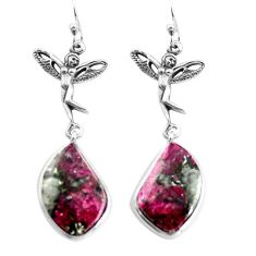 18.14cts natural pink eudialyte 925 silver angel wings fairy earrings p91836