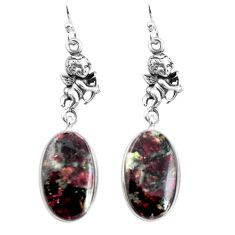 16.88cts natural pink eudialyte 925 silver cupid angel wings earrings p91837