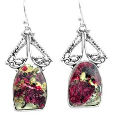 19.34cts natural pink eudialyte 925 sterling silver dangle earrings p72632