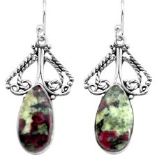 14.40cts natural pink eudialyte 925 sterling silver dangle earrings p72635