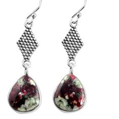 11.26cts natural pink eudialyte 925 sterling silver dangle earrings p91830