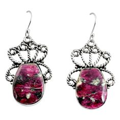20.81cts natural pink eudialyte 925 sterling silver dangle earrings p91888