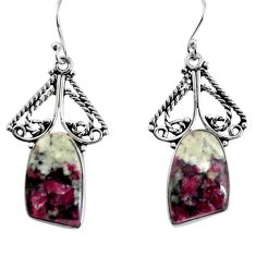 17.42cts natural pink eudialyte 925 sterling silver dangle earrings p91889