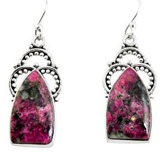 17.42cts natural pink eudialyte 925 sterling silver dangle earrings p91890