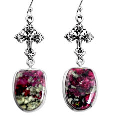 18.70cts natural pink eudialyte 925 sterling silver holy cross earrings p91832