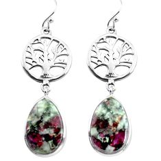 14.72cts natural pink eudialyte 925 sterling silver tree of life earrings p72588