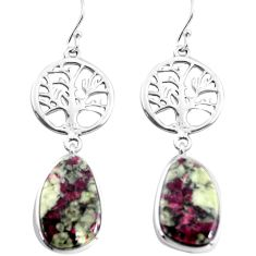 16.88cts natural pink eudialyte 925 sterling silver tree of life earrings p91829