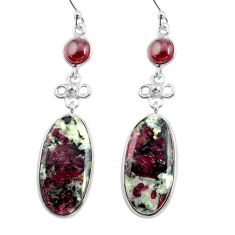 19.73cts natural pink eudialyte red garnet 925 silver dangle earrings p78512