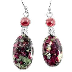 19.76cts natural pink eudialyte red garnet 925 silver dangle earrings p78513
