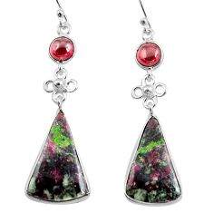 17.35cts natural pink eudialyte red garnet 925 silver dangle earrings p78514