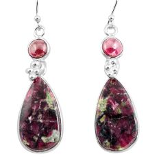 19.09cts natural pink eudialyte red garnet 925 silver dangle earrings p78517