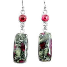 20.40cts natural pink eudialyte red garnet 925 silver dangle earrings p78519