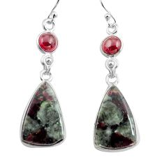 16.04cts natural pink eudialyte red garnet 925 silver dangle earrings p78520