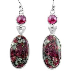 15.89cts natural pink eudialyte red garnet 925 silver dangle earrings p88819