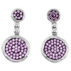 3.42cts natural pink kunzite (lab) topaz 925 silver dangle earrings c2708