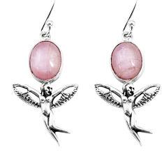 8.22cts natural pink kunzite 925 silver angel wings fairy earrings p54883