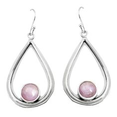 5.63cts natural pink kunzite 925 sterling silver dangle earrings jewelry p52883