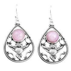 6.80cts natural pink kunzite 925 sterling silver owl earrings jewelry p52049