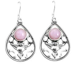 6.80cts natural pink kunzite 925 sterling silver owl earrings jewelry p52050