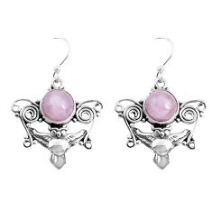 6.58cts natural pink kunzite 925 sterling silver owl earrings jewelry p52077