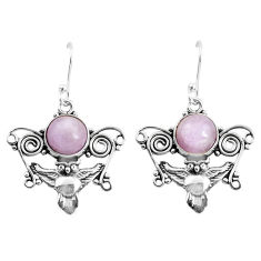 6.58cts natural pink kunzite 925 sterling silver owl earrings jewelry p52078