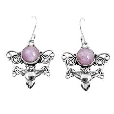 6.83cts natural pink kunzite 925 sterling silver owl earrings jewelry p52080