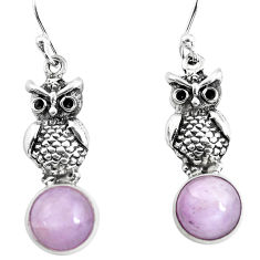 6.27cts natural pink kunzite 925 sterling silver owl earrings jewelry p54977