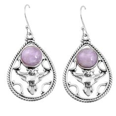 6.20cts natural pink kunzite 925 sterling silver owl earrings jewelry p58382