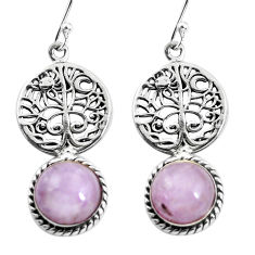 6.58cts natural pink kunzite 925 sterling silver tree of life earrings p54857
