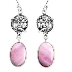 19.29cts natural pink lace agate 925 silver cupid angel wings earrings p91813