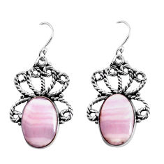 15.76cts natural pink lace agate 925 sterling silver dangle earrings p91972