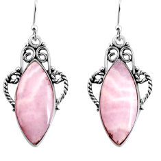 15.85cts natural pink lace agate 925 sterling silver dangle earrings p91973