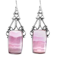 17.69cts natural pink lace agate 925 sterling silver dangle earrings p91975