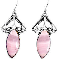 17.20cts natural pink lace agate 925 sterling silver dangle earrings p91976