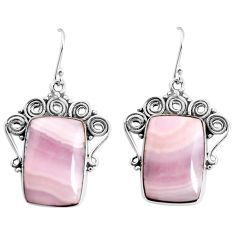 22.22cts natural pink lace agate 925 sterling silver dangle earrings p91977