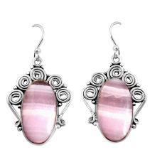 19.82cts natural pink lace agate 925 sterling silver dangle earrings p91978