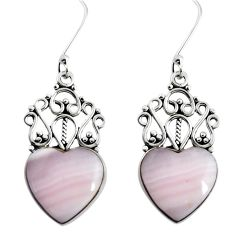 13.28cts natural pink lace agate 925 sterling silver heart earrings d32547