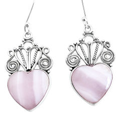 14.12cts natural pink lace agate 925 sterling silver heart love earrings p34865