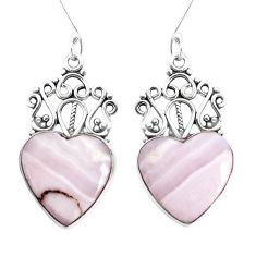 14.88cts natural pink lace agate 925 sterling silver heart love earrings p34882