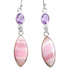 16.07cts natural pink lace agate amethyst 925 silver dangle earrings p78485