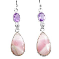 17.35cts natural pink lace agate amethyst 925 silver dangle earrings p78489