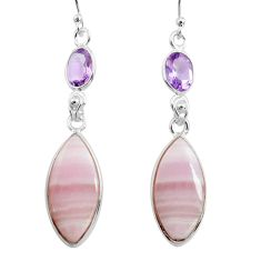 15.34cts natural pink lace agate amethyst 925 silver dangle earrings p78490