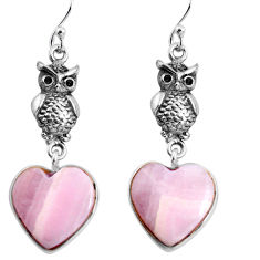 16.88cts natural pink lace agate heart 925 silver owl earrings jewelry p91820