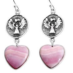 23.74cts natural pink lace agate heart 925 sterling silver earrings p91818