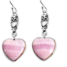 14.08cts natural pink lace agate heart 925 sterling silver owl earrings p91814