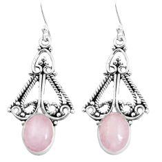 5.54cts natural pink morganite 925 sterling silver dangle earrings p52230